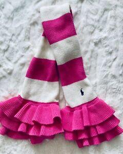 POLO Ralph Lauren Little Girls (2T-4T) Knit Scarf, Hot Pink & Cream Striped EUC