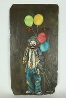 Vintage 1985 Hobo Clown Painting On Slate Rock Wall Hanging Signed Umstead