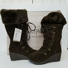 Bearpaw Womens Minka Boots Lace-Up Brown Size 7 Suede Leather Faux Fur Trim NIB