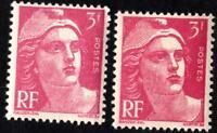 VARIÉTÉ - N°716+716 a- ( LE ROSE + LE ROSE CARMINE )   NEUFS ** sans defauts !