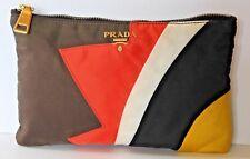 Prada Orange Brown Black Blue White yellow Cosmetic case Makeup Clutch Nylon