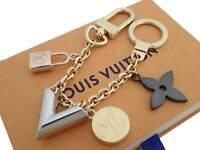 Auth Louis Vuitton Bijou De Sac Chaine Kaleido V Charm Gold/Silvertone e39902