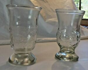 """Brockway Vintage children's juice glass with fish set of two 4 1/4"""" tall"""
