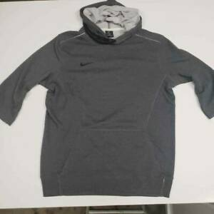 Nike Mens Pullover Hoodie Jacket Gray Dri Fit Kangaroo Pocket 3/4 Sleeve M New