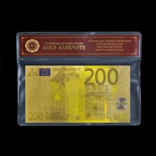 WR Colored Euro 200 Euros GOLD Banknote Wesco Educational Polymer Note Gift +COA