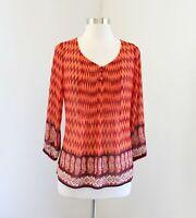 Lucky Brand Orange Red Semi Sheer Chevron Paisley Print Blouse Top Size S