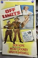 1953 'Original' One Sheet Comedy - OFF LIMITS - BOB HOPE AND MICKEY ROONEY