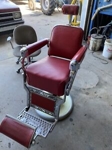 Vintage 1950's Belmont Barber Chair, With Head Rest