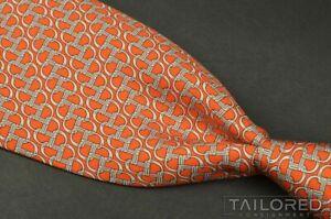 """HERMES 5620 EA Orange Geometric 100% Silk Mens Luxury Tie - 3.375"""""""