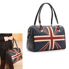 New British Style Union Jack UK Flag Leather Handbag Shoulder Big Vintage Bags