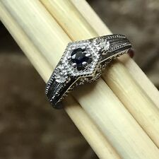Natural Blue Sapphire 925 Solid Sterling Silver Solitaire Engagement Ring sz 9