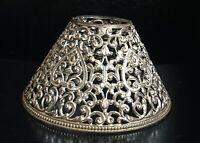 Antique Pierced Cut Metal Candle Lamp Shade Beautiful Filigree