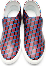$468 PIERRE HARDY Red Cube Print Slip-On Sneakers kenzo dsquared 39 Shoes