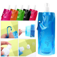 480ML Portable Foldable Reusable Plastic Collapsible Outdoor Water Bag Bottle