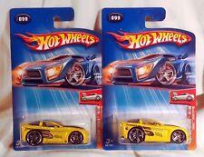 Hot Wheels 2004 1st Editions Tooned Corvette C6 Yellow x 2 VARIATIONS w/ PR-5