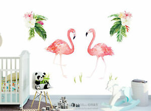 Flamingo Tropical Flowers Leaves Removable Wall Art Stickers Decal Nursery Decor
