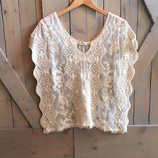 New Anthropologie Women's Crochet Lace Boho Gypsy Blouse Top Medium / Large