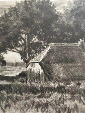 Hübsche Radierung Bauernhaus im Ried signiert Ulrich Sager