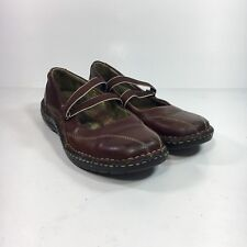 Eastland Women's 8 M Brown Leather Elastic Strap Mary Jane Flats Shoes 3155-02