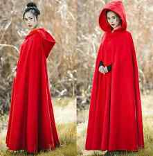 Womens Red Retro Wool Blend Hooded Shawl Cloak Coat Casual Full Length Overcoat