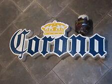 "VTG CORONA BEER 8"" Mug Chalkware Bank ~ Bar Display Sign BOTTLE 2 Keychain LOT"