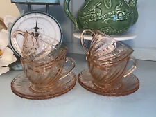 Arcoroc France Rosaline Lot Pink Swirl 4 Cups and 4 Saucers Vintage Glass