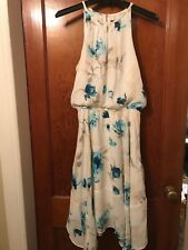 NEW Womens White House Black Market Halter Dress White Blue Floral Chiffon Sz 6