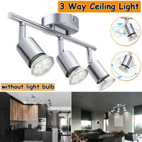 3 Way Round Plate Ceiling Light Fitting Spot Lamp LED Light Bulb Home  √
