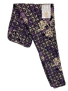 LuLaRoe TC Leggings #3673 - Flowers with Purple Leaves - Original Tall & Curvy