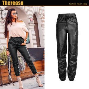 Women Wet Look PU PVC Shiny Faux Leather Look Tie upTrouser Pant Joggers UK 6-18