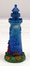 10 Inch Tall Resin Blue Lighthouse W/ Under Sea Dolphin Nautical Design
