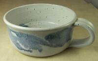 Signed Artisan Studio Pottery Stoneware Soup Bowl or Mug Blue & Grey Glaze