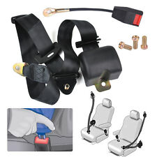 Universal 3 Point Retractable Seat Lap Belt Safety Strap Security Wire Buckles