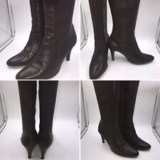 Jones Bootmaker Size 7 40 Brown Snakeskin Style Leather Long Heeled Boots Womens