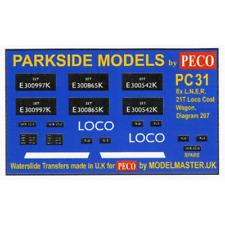 Modelmaster MMPC31 Transfers for ex L.N.E.R. 21T Loco Coal Wagon
