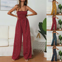 Summer Strappy Playsuit Romper Fashion Polka Dot Jumpsuits Wide Leg Pant Overall
