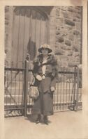 RPPC Postcard Woman Fur Wrap Large Purse c. 1900s
