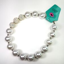 Chunky Gumball Bubblegum  Necklace White Faux Pearls 16 Inch Toggle Clasp