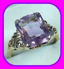 LARGE HEAVY 3.8G SOLID 9CT GOLD EMERALD CUT AMETHYST SOLITAIRE ENGLISH RING~SZ N