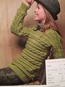 Ladies (S, M, L, XL) Knitted Sideways Cable Sweater Knitting Pattern