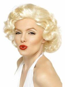 Marilyn Monroe Wig Blonde Bombshell Hollywood Starlet Ladies Womens Fancy Dress