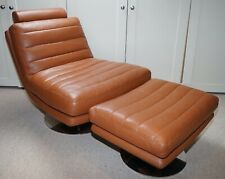MODERN CONTEMPO ITACA TAN LEATHER SWIVEL LOUNGE CHAIR W/ FOOTSTOOL RRP £2,249