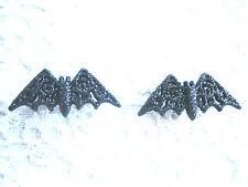 BLACK GLITTER VAMPIRE BAT STUD EARRINGS ... GOTH / EMO / PLASTIC / STEEL