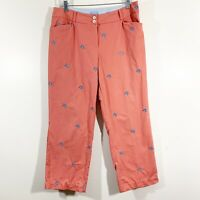 J McLaughlin Size 10 Womens Coral Pink Blue Starfish Embroidered Crop Pants