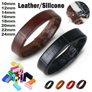 Silicone/Leather Watch Strap Band Buckle Keeper Ring Hoop Loop Holder Retainer