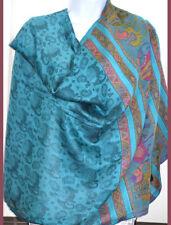 Turquoise Color Pashmina Silk blend Shawl, Stole,Wrap Paisley Elephant Design