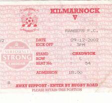 Ticket - Kilmarnock v Rangers 29.12.2002