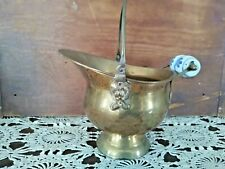 ANTIQUE BRASS COAL SCUTTLE W/ PORCELAIN DELFT HANDLE MADE IN INDIA