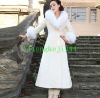 New Womens Slim Fit Wool Fur Collar Winter Parka Long Trench Coat Jacket Outwear