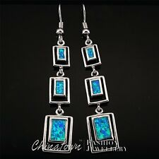 Rectangle Shape Ocean Blue Fire Opal Inlay Silver Jewelry Dangle Drop Earrings
